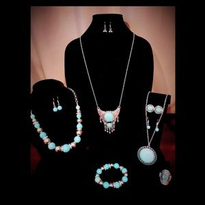 7-Piece Silver-tone turquoise-like jewelry lot